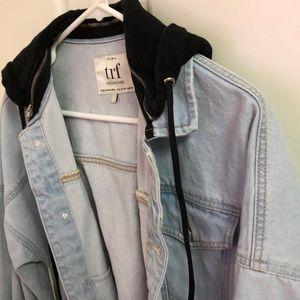12e4434d Zara Jackets & Coats | Trf Denim Jacket With Removable Hood | Poshmark
